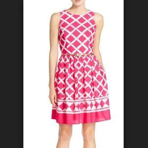 Eliza J Print Crepe de Chine Fit & Flare Dress 8